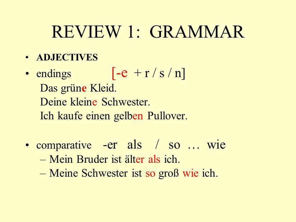 REVIEW 1: GRAMMAR endings [-e + r / s / n] Das grüne Kleid.